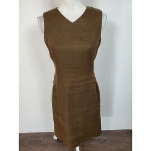 Talbots Brown Sheath Irish Linen Dress Size 4